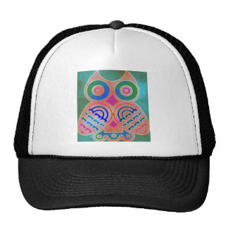 Owl Colorful Pattern Personalized Monogram Name Cap