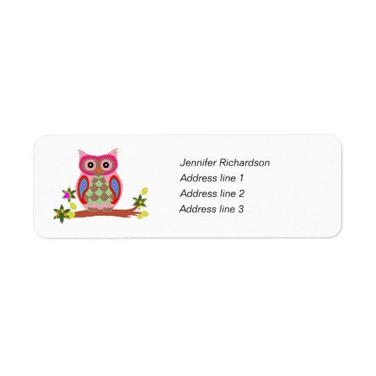 Owl colourful art custom return address labels