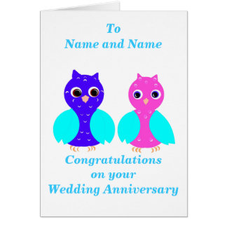 Owl Couple Anniversary card add names front.