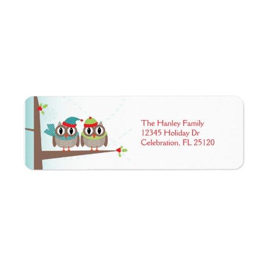 Owl Couple Christmas Return Address Label