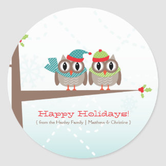 Owl Couple Christmas Sticker