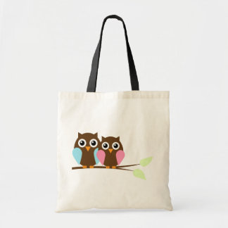 Owl couple on a branch budget tote bag