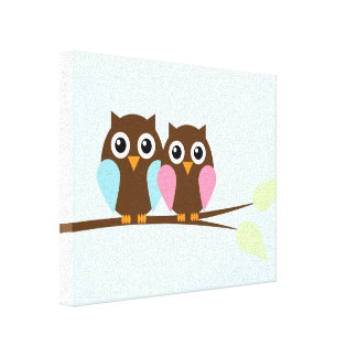 Owl couple on a branch canvas prints