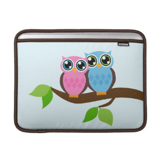Owl Couple on a Tree Branch Macbook Air Sleeve