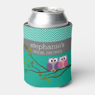 Owl Couple on Branch Bridal Shower Favors Can Cooler
