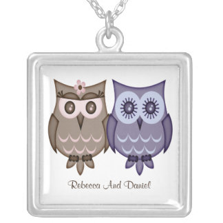 Owl Couple Silver Plated Necklace
