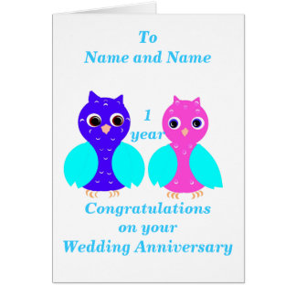 Owl Couple Wedding anniversary, add names front. Greeting Card