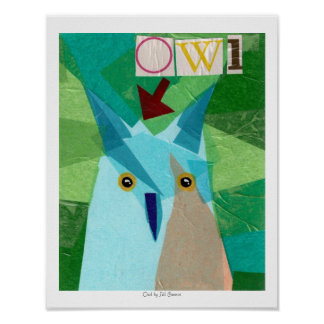Owl Critter Collage Poster