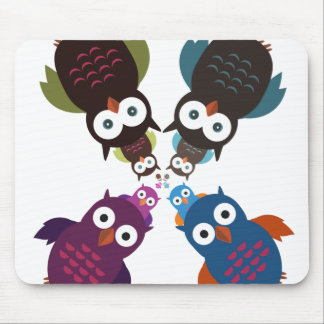 Owl Crowd Mouse Pad