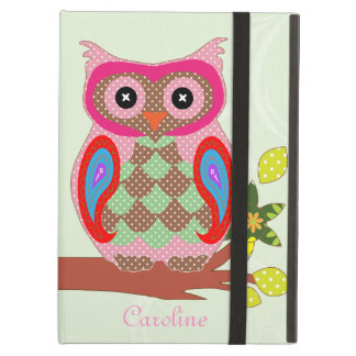 Owl custom name colorful art decorative ipad case