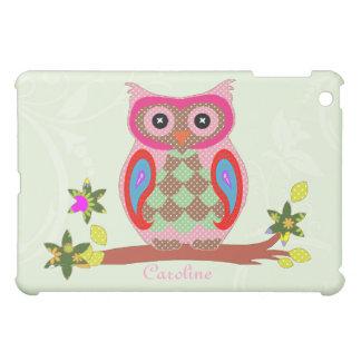 Owl custom name colorful art decorative ipad case iPad mini cover