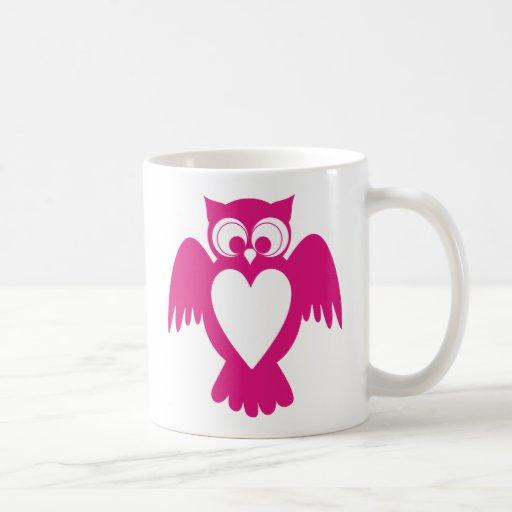 Owl customizable name label coffee mugs