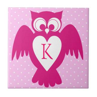 Owl customizable name label ceramic tile