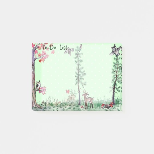 Owl Deer forest watercolor to-do list Post-it Notes
