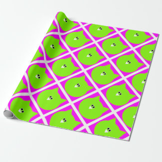 Owl design in pink and green wrapping paper