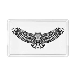Owl Doodle Acrylic Tray