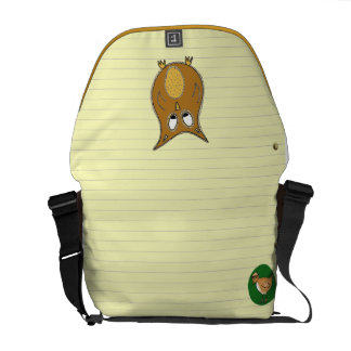 Owl Doodle on Yellow Notepaper Messenger Bags