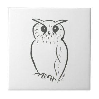 Owl doodle small square tile
