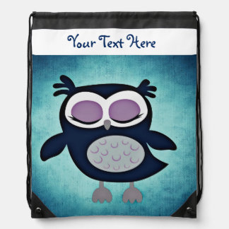 Owl/Draw String Back Pack Print/Personalized Drawstring Bag
