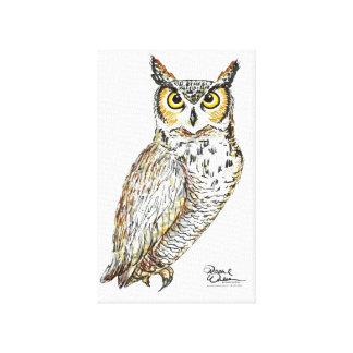 Owl drawing wall art canvas print