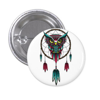 Owl dreamcatcher. 3 cm round badge