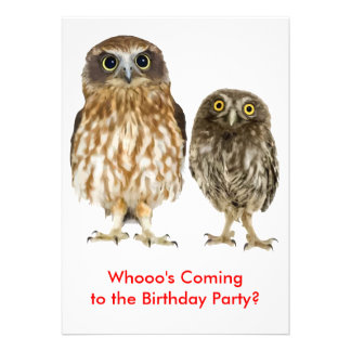 Owl Duo Biirthday Party Personalized Announcements