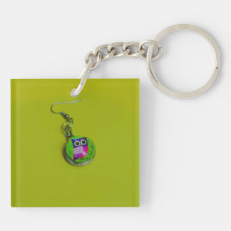 Owl earring macro Double-Sided square acrylic key ring