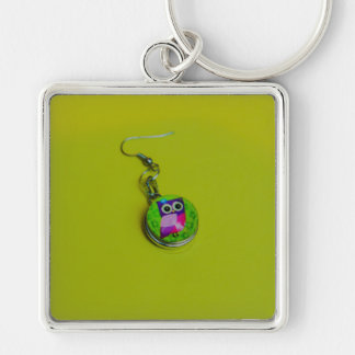 Owl earring macro Silver-Colored square key ring