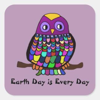 Owl Earth Day Square Sticker