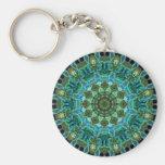 Owl Eyes kaleidoscope Basic Round Button Key Ring