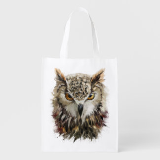 Owl Face Grunge Reusable Grocery Bag