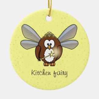 owl fairy round ceramic decoration