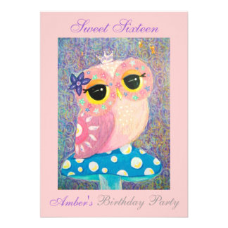 Owl Fairy Princess Sweet Sixteen Birthday Party Custom Invites