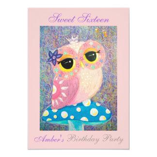 "Owl Fairy Princess Sweet Sixteen Birthday Party 5"" X 7"" Invitation Card"
