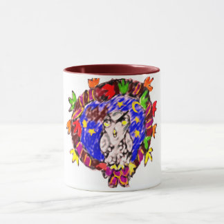 owl fall art four mug
