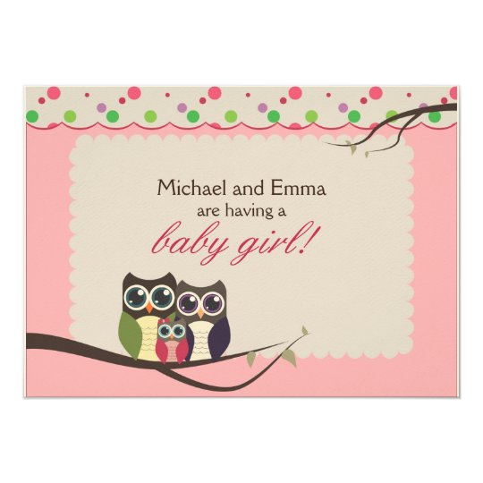 Owl Family Baby Shower for Girl Card