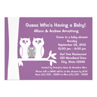 Owl Family Baby Shower Announcements