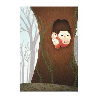 Owl Family Forest Art Shelter Extra Large Gallery Wrapped Canvas