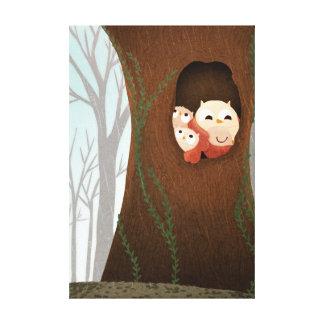 Owl Family Forest Art Shelter Medium Canvas Prints