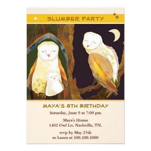 Owl Family: Kids Slumber Party Invitations