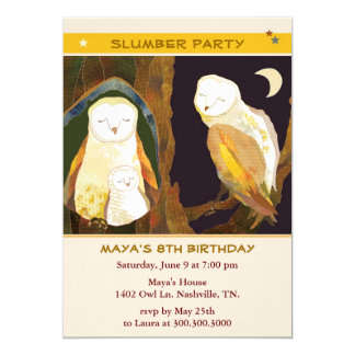 Owl Family Kids Slumber Party Invitations