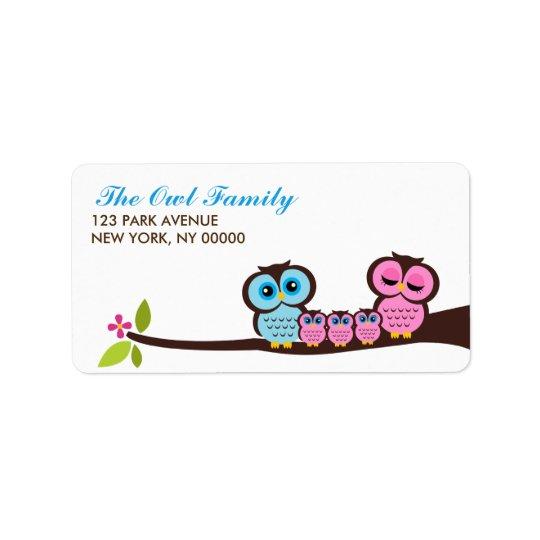 Owl Family Label