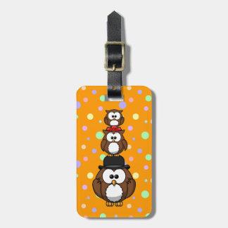 Owl family luggage tag