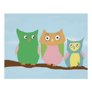 Owl Family Portrait-large Poster