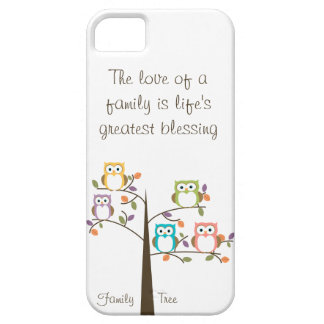 Owl Family Tree and Quote iPhone 5 Case