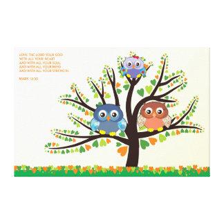 Owl Family Tree Gallery Wrap Canvas