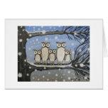 """Owl family's first snow"" Card"