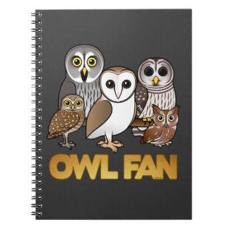 Owl Fan Spiral Notebooks