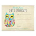 Owl Fashion Business Gift Certificate Template 11 Cm X 14 Cm Invitation Card
