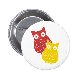 Owl Fellows one of Red one of Yellow 6 Cm Round Badge